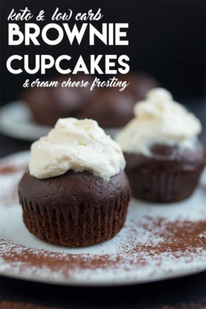 Keto & Low Carb Brownie Cupcakes with Cream Cheese Frosting
