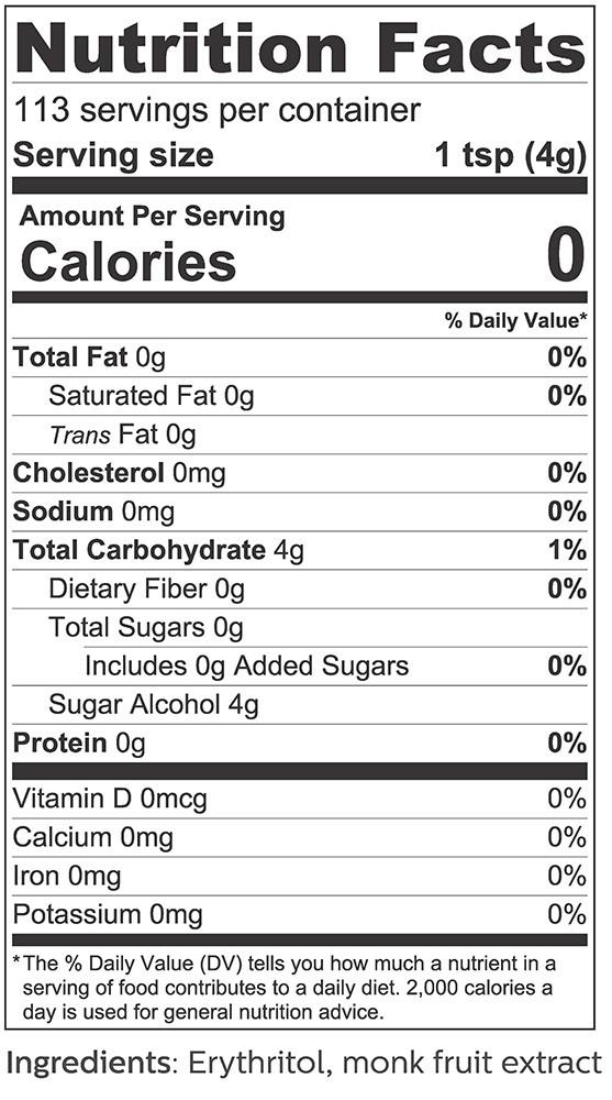 Monk Fruit + Erythritol Sweetener