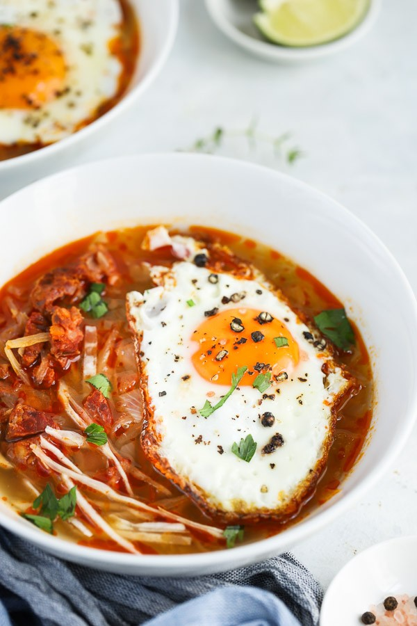Chorizo Cabbage Stew with Fried Egg Recipe
