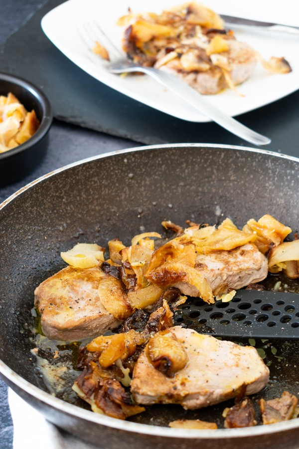 Grilled Pork Medallions with Fried Apples Recipe