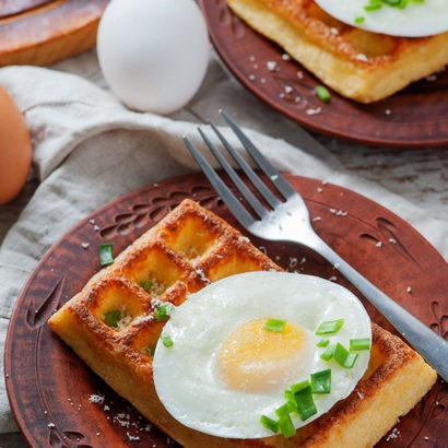 Keto Cauliflower Waffles with Fried Eggs
