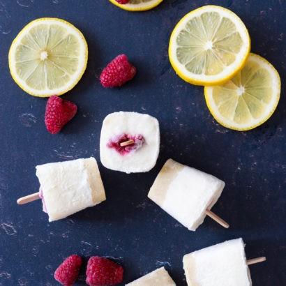 Keto Mini Lemon Raspberry Cheesecake Popsicles