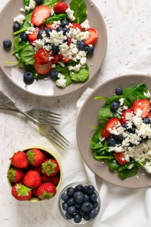 Keto Summer Berry Spinach Salad with Feta