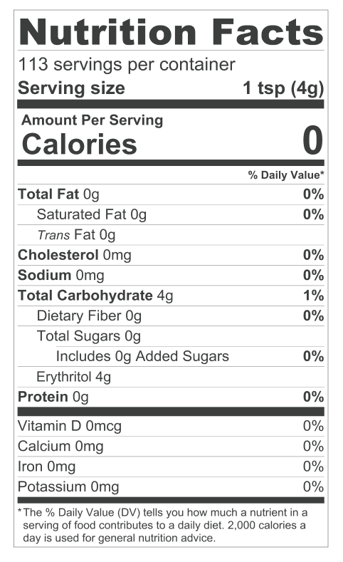 keto sweetener nutrition label
