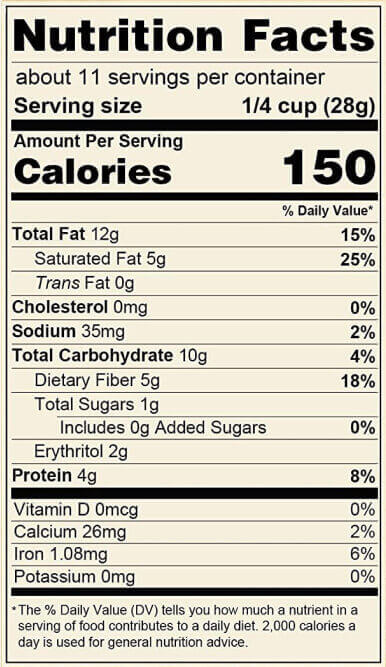 coconut cashew nutrition label