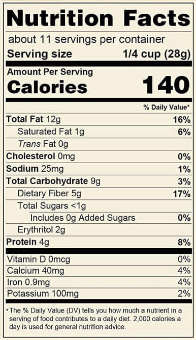 keto granola nutrition label
